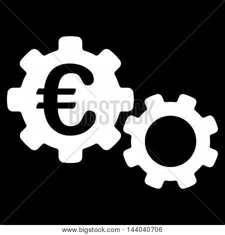 Euro Mechanics icon. Glyph style is flat iconic symbol, white color, black background.