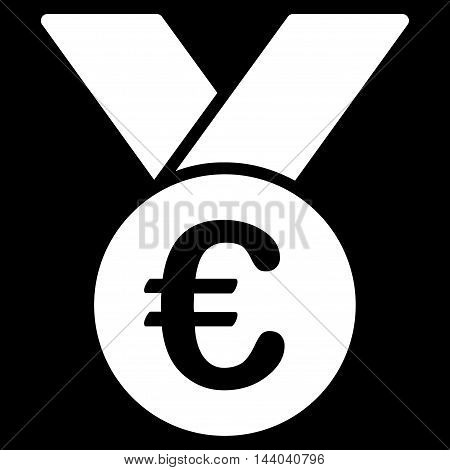 Euro Prize Medal icon. Glyph style is flat iconic symbol, white color, black background.