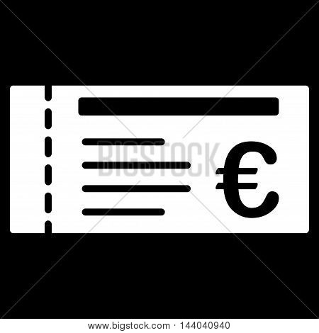 Euro Ticket icon. Glyph style is flat iconic symbol, white color, black background.