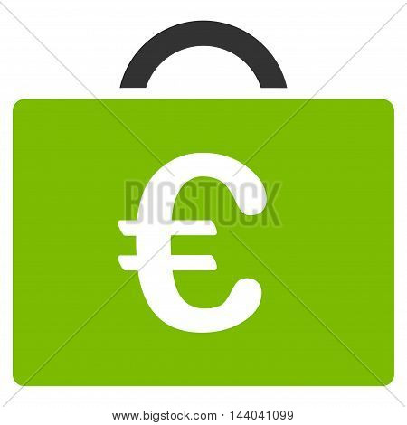 Euro Bookkeeping Case icon. Glyph style is bicolor flat iconic symbol, eco green and gray colors, white background.