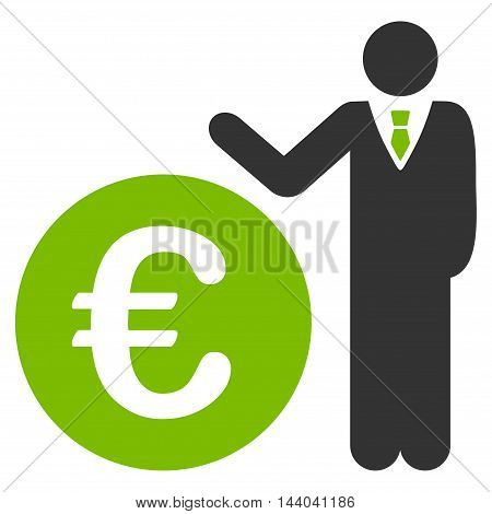 Euro Economist icon. Glyph style is bicolor flat iconic symbol, eco green and gray colors, white background.