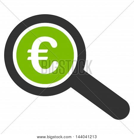 Euro Financial Audit icon. Glyph style is bicolor flat iconic symbol, eco green and gray colors, white background.