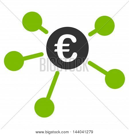 Euro Links icon. Glyph style is bicolor flat iconic symbol, eco green and gray colors, white background.