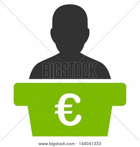 Euro Politician icon. Glyph style is bicolor flat iconic symbol, eco green and gray colors, white background.