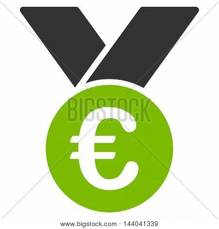 Euro Prize Medal icon. Glyph style is bicolor flat iconic symbol, eco green and gray colors, white background.