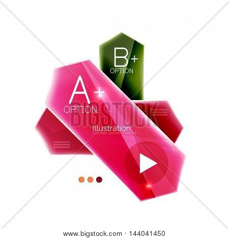 Glossy arrow business infographic templates. Vector colorful stripes with options and button