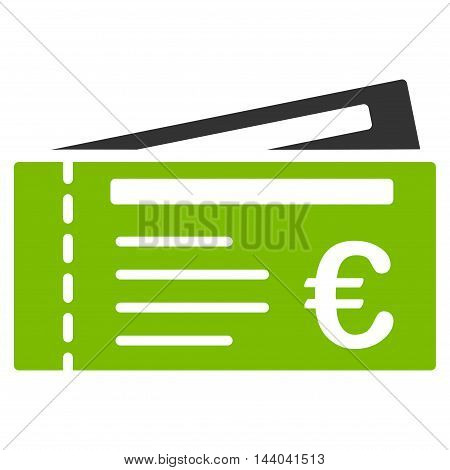 Euro Tickets icon. Glyph style is bicolor flat iconic symbol, eco green and gray colors, white background.