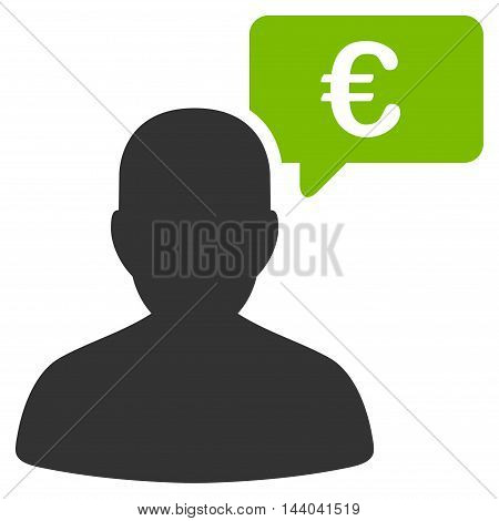 Euro User Opinion icon. Glyph style is bicolor flat iconic symbol, eco green and gray colors, white background.