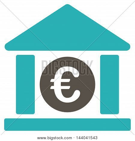 Euro Bank Building icon. Glyph style is bicolor flat iconic symbol, grey and cyan colors, white background.