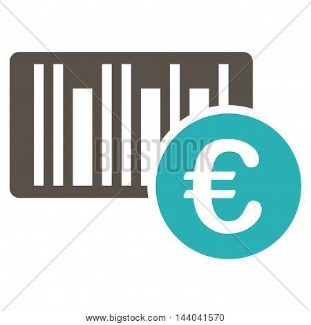 Euro Bar Code Price icon. Glyph style is bicolor flat iconic symbol, grey and cyan colors, white background.