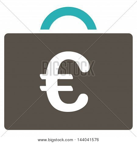 Euro Bookkeeping Case icon. Glyph style is bicolor flat iconic symbol, grey and cyan colors, white background.