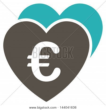 Euro Favorites Hearts icon. Glyph style is bicolor flat iconic symbol, grey and cyan colors, white background.