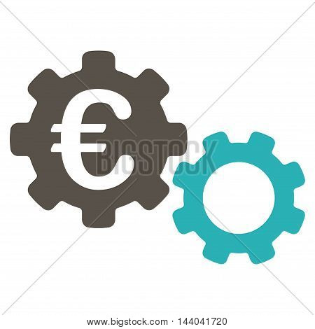 Euro Mechanics icon. Glyph style is bicolor flat iconic symbol, grey and cyan colors, white background.