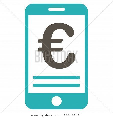 Euro Mobile Banking icon. Glyph style is bicolor flat iconic symbol, grey and cyan colors, white background.
