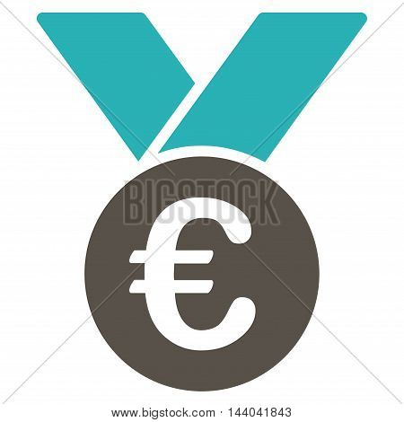 Euro Prize Medal icon. Glyph style is bicolor flat iconic symbol, grey and cyan colors, white background.