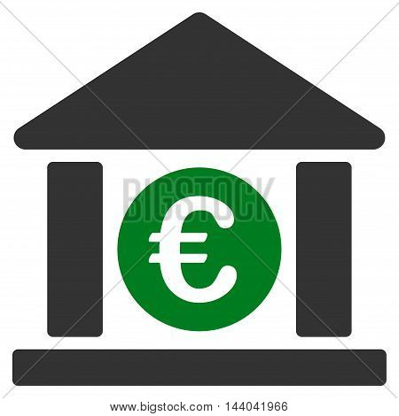 Euro Bank Building icon. Glyph style is bicolor flat iconic symbol, green and gray colors, white background.