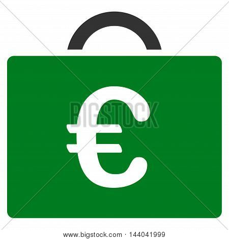 Euro Bookkeeping Case icon. Glyph style is bicolor flat iconic symbol, green and gray colors, white background.
