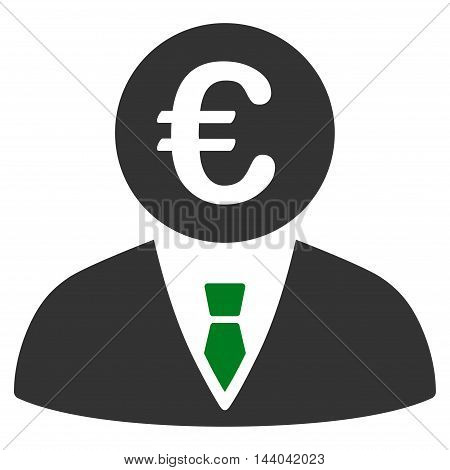 Euro Clerk icon. Glyph style is bicolor flat iconic symbol, green and gray colors, white background.