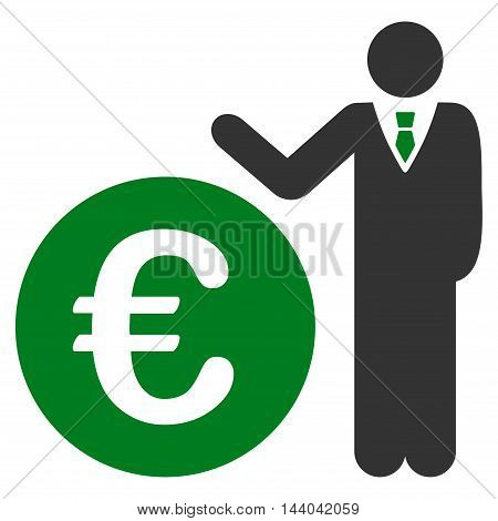 Euro Economist icon. Glyph style is bicolor flat iconic symbol, green and gray colors, white background.