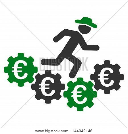 Euro Gears Runner icon. Glyph style is bicolor flat iconic symbol, green and gray colors, white background.