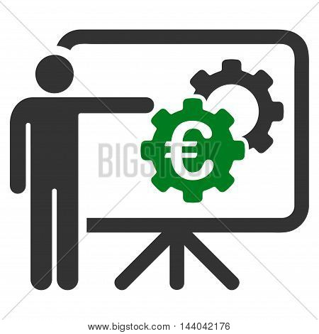 Euro Industrial Project Presentation icon. Glyph style is bicolor flat iconic symbol, green and gray colors, white background.