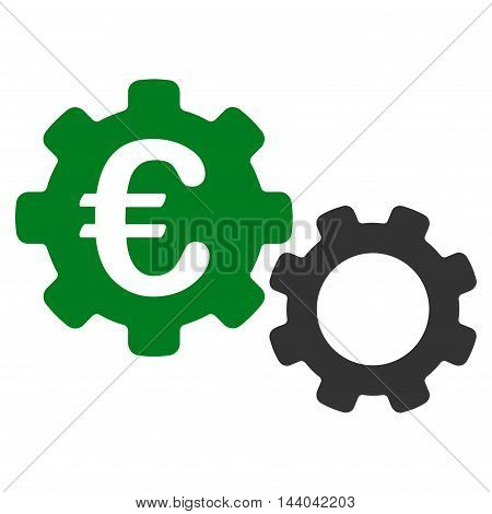 Euro Mechanics icon. Glyph style is bicolor flat iconic symbol, green and gray colors, white background.
