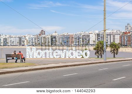 MONTEVIDEO, URUGUAY,  DECEMBER - 2015 - Landmark place at pocitos beach in which is located the montevideo letters a place for tourist to take souvenir photos