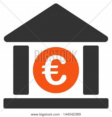 Euro Bank Building icon. Glyph style is bicolor flat iconic symbol, orange and gray colors, white background.