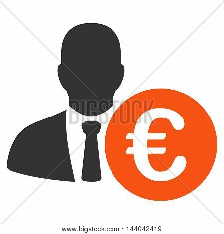 Euro Banker icon. Glyph style is bicolor flat iconic symbol, orange and gray colors, white background.