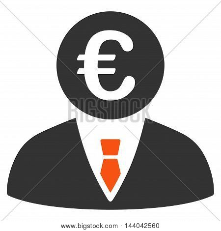 Euro Clerk icon. Glyph style is bicolor flat iconic symbol, orange and gray colors, white background.