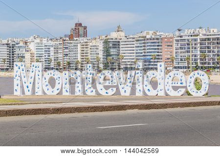 Montevideo Letters At Pocitos Beach