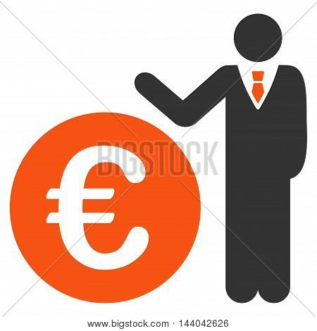 Euro Economist icon. Glyph style is bicolor flat iconic symbol, orange and gray colors, white background.
