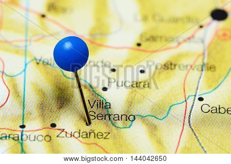 Villa Serrano pinned on a map of Bolivia