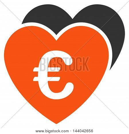 Euro Favorites Hearts icon. Glyph style is bicolor flat iconic symbol, orange and gray colors, white background.