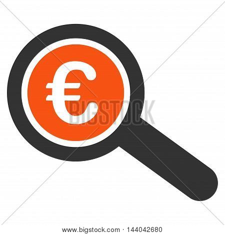Euro Financial Audit icon. Glyph style is bicolor flat iconic symbol, orange and gray colors, white background.