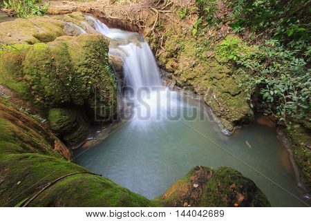 Beautiful little waterfall in forest at Chiangmai Province, Thailand