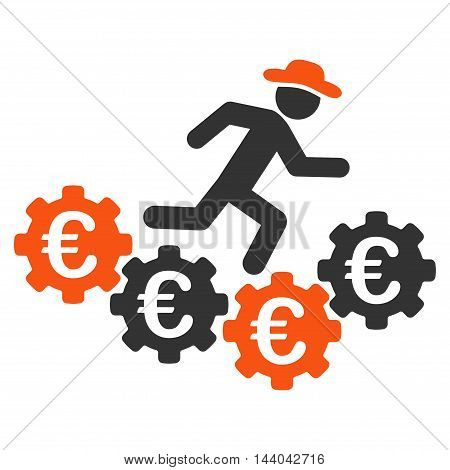 Euro Gears Runner icon. Glyph style is bicolor flat iconic symbol, orange and gray colors, white background.