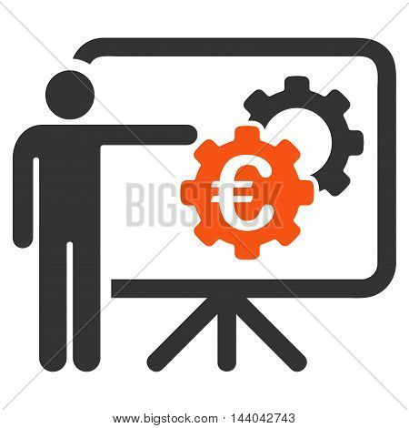 Euro Industrial Project Presentation icon. Glyph style is bicolor flat iconic symbol, orange and gray colors, white background.