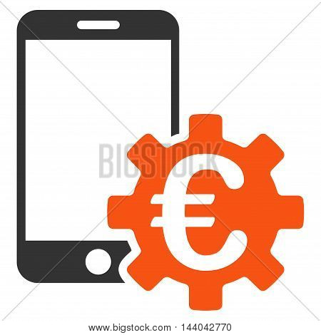 Euro Mobile Bank Configuration icon. Glyph style is bicolor flat iconic symbol, orange and gray colors, white background.