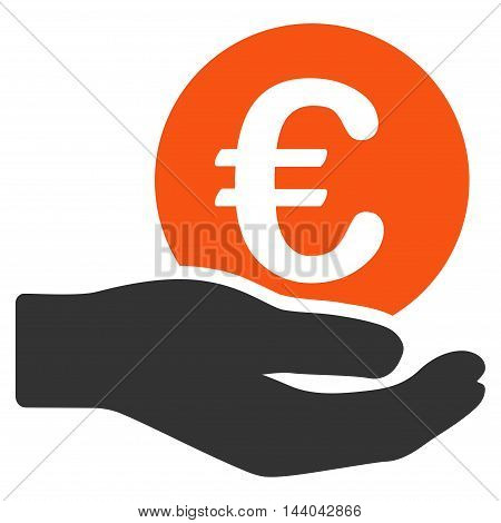 Euro Salary icon. Glyph style is bicolor flat iconic symbol, orange and gray colors, white background.