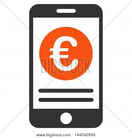 Euro Smartphone Banking icon. Glyph style is bicolor flat iconic symbol, orange and gray colors, white background.