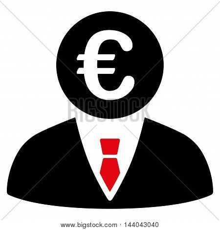 Euro Clerk icon. Glyph style is bicolor flat iconic symbol, intensive red and black colors, white background.