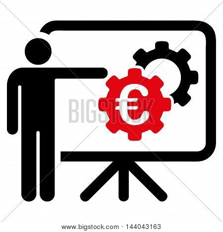 Euro Industrial Project Presentation icon. Glyph style is bicolor flat iconic symbol, intensive red and black colors, white background.