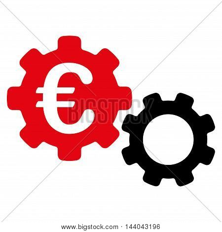 Euro Mechanics icon. Glyph style is bicolor flat iconic symbol, intensive red and black colors, white background.