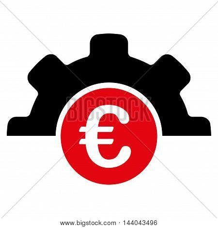 Euro Technology icon. Glyph style is bicolor flat iconic symbol, intensive red and black colors, white background.