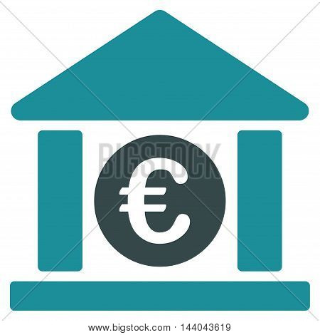 Euro Bank Building icon. Glyph style is bicolor flat iconic symbol, soft blue colors, white background.