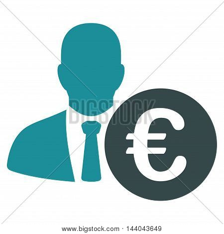 Euro Banker icon. Glyph style is bicolor flat iconic symbol, soft blue colors, white background.