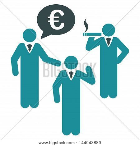 Euro Discuss People icon. Glyph style is bicolor flat iconic symbol, soft blue colors, white background.