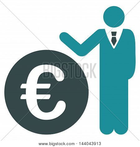 Euro Economist icon. Glyph style is bicolor flat iconic symbol, soft blue colors, white background.