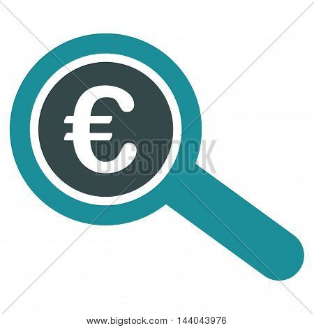 Euro Financial Audit icon. Glyph style is bicolor flat iconic symbol, soft blue colors, white background.